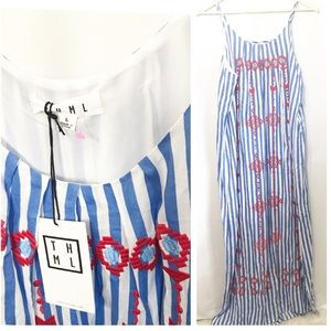 NWT THML Blue Stripe Embroidered Maxi Dress